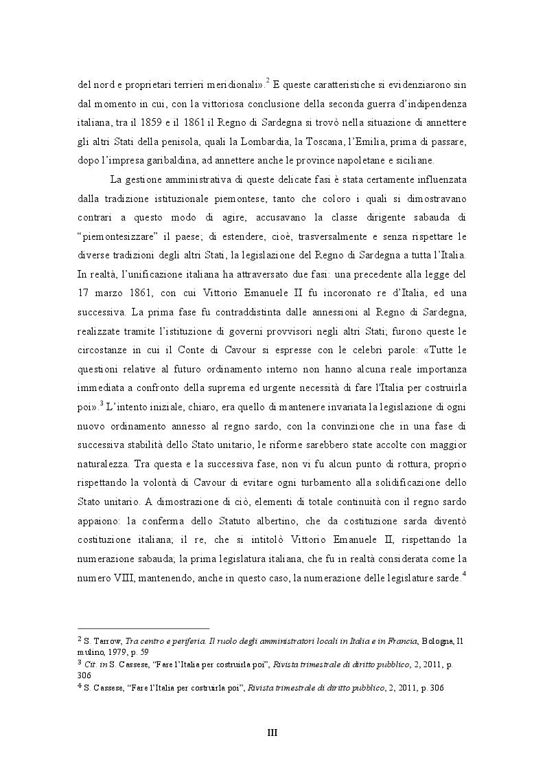 Anteprima della tesi: L'unificazione amministrativa del Regno d'Italia: tra autonomie locali e centralismo, Pagina 4