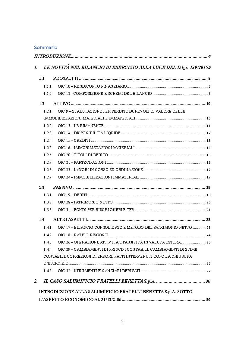 Indice della tesi: D.lgs. 139/2015 Il nuovo bilancio d'esercizio: Il caso Salumificio Fratelli Beretta S.p.a., Pagina 1