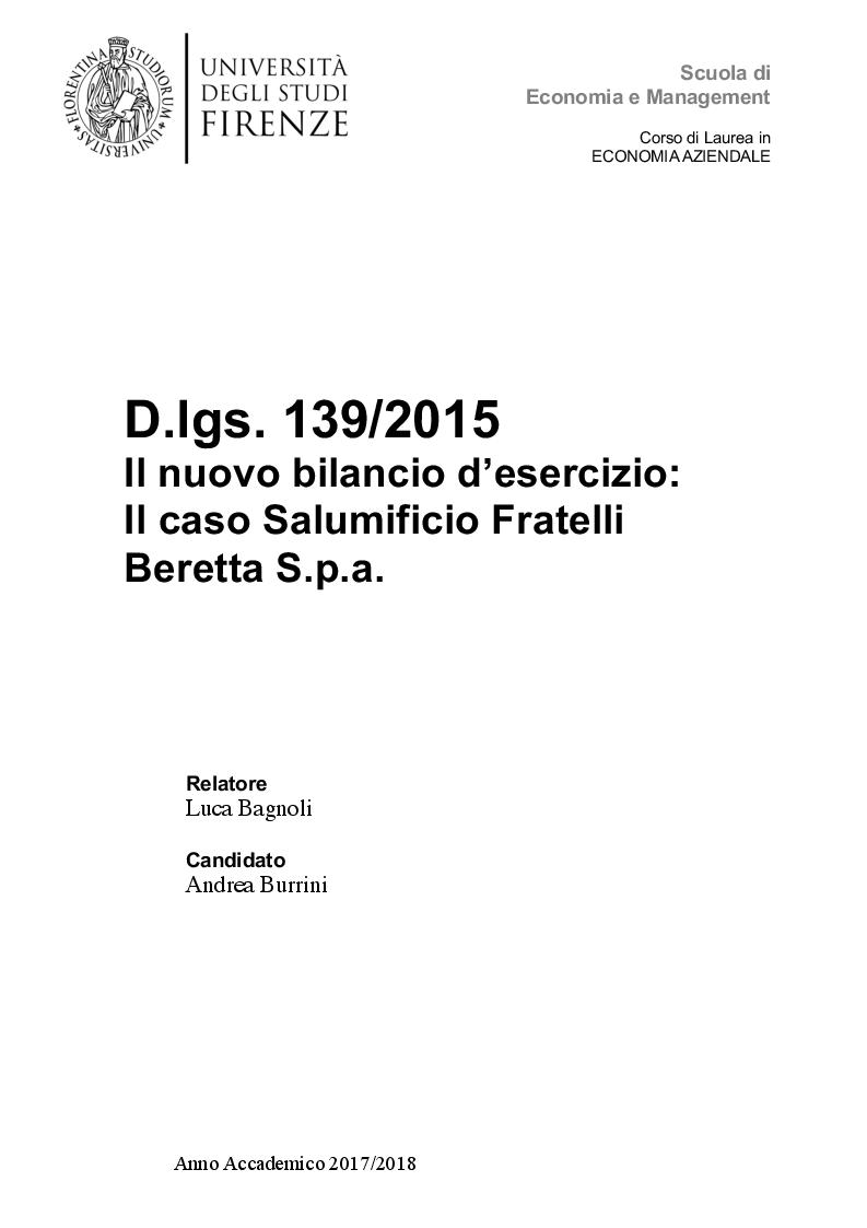 Anteprima della tesi: D.lgs. 139/2015 Il nuovo bilancio d'esercizio: Il caso Salumificio Fratelli Beretta S.p.a., Pagina 1