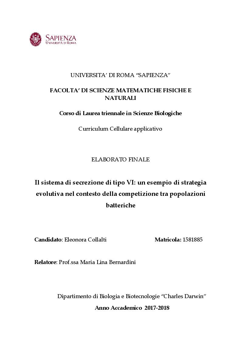 Anteprima della tesi: Il sistema di secrezione di tipo VI: un esempio di strategia evolutiva nel contesto della competizione tra popolazioni batteriche, Pagina 1