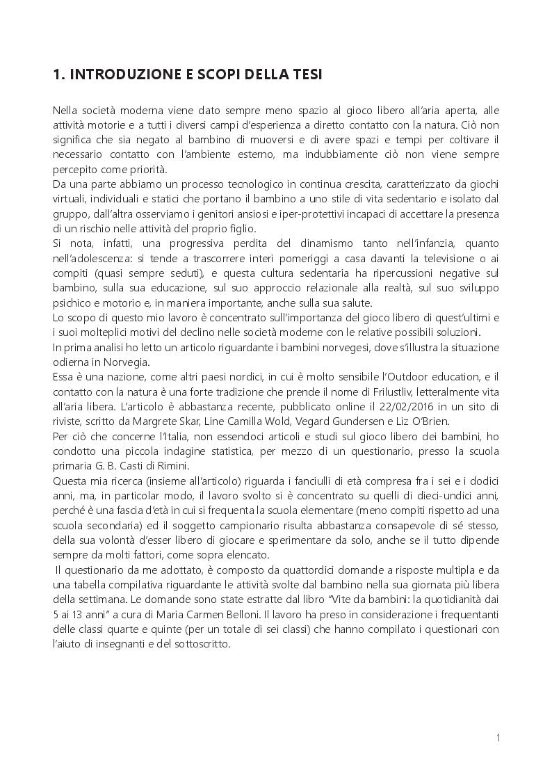 Anteprima della tesi: Il gioco libero dei bambini: tempo perso o educazione all'aperto?, Pagina 2