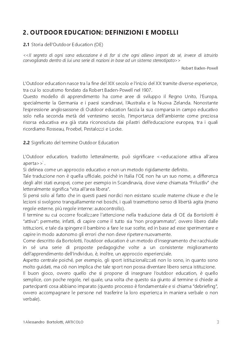 Anteprima della tesi: Il gioco libero dei bambini: tempo perso o educazione all'aperto?, Pagina 4