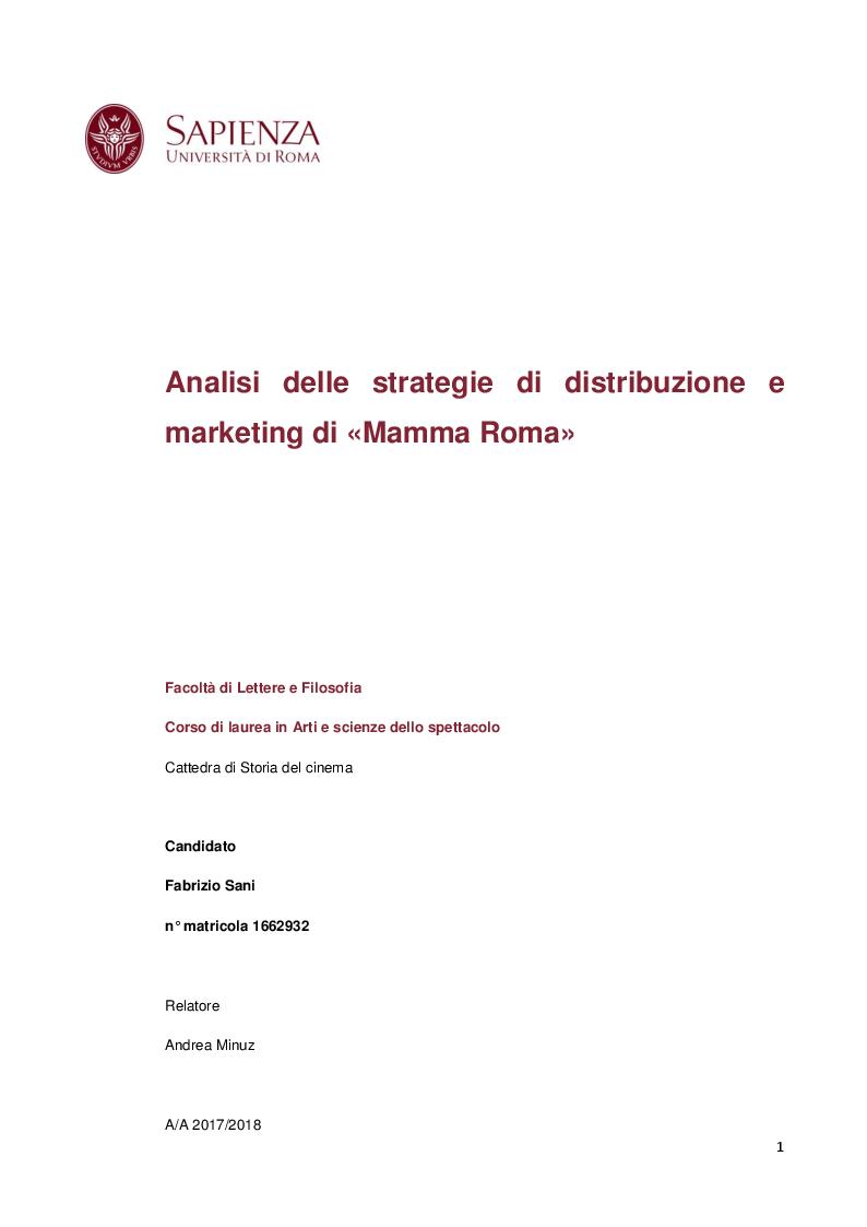 Anteprima della tesi: Strategie di distribuzione e marketing di Mamma Roma, Pagina 1