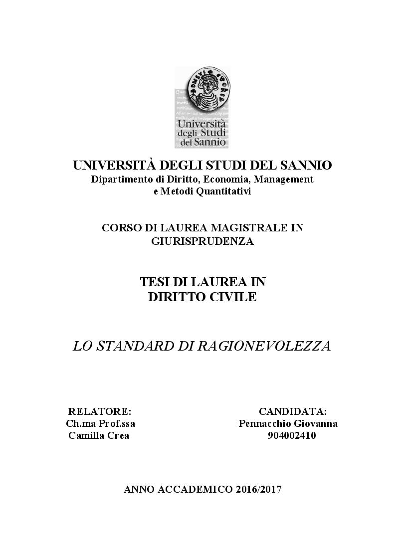 Anteprima della tesi: Lo standard di ragionevolezza, Pagina 1