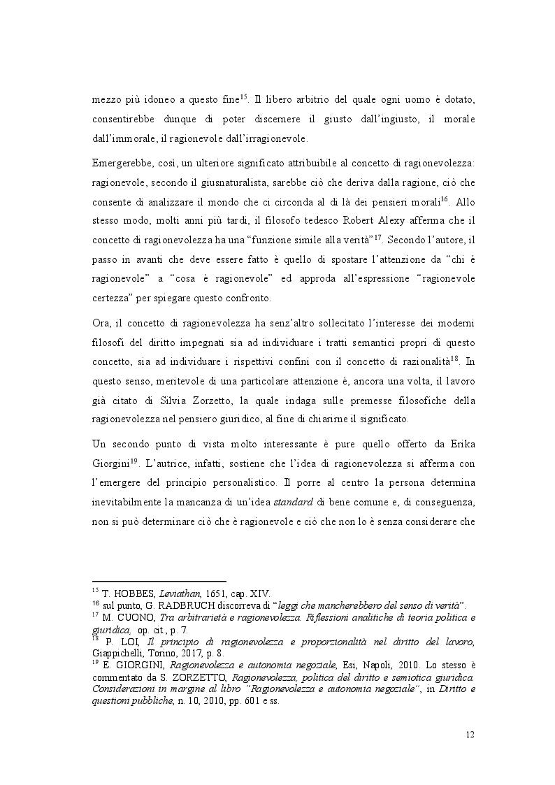 Anteprima della tesi: Lo standard di ragionevolezza, Pagina 9