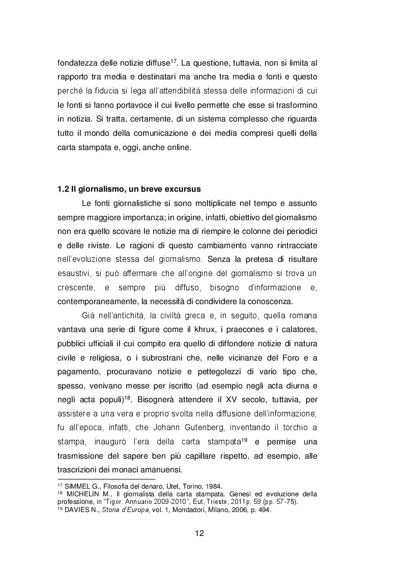 Estratto dalla tesi: Il ruolo delle fonti ''autorevoli'' nella selezione della notizia