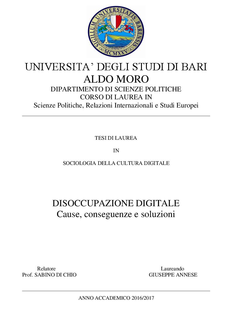 Anteprima della tesi: Disoccupazione Digitale: Cause, conseguenze e soluzioni, Pagina 1