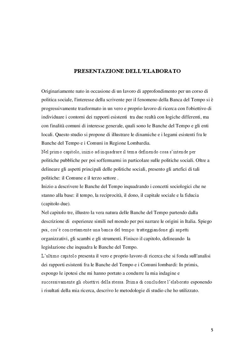 Anteprima della tesi: La Banca del Tempo e gli enti locali:  il caso lombardo, Pagina 2