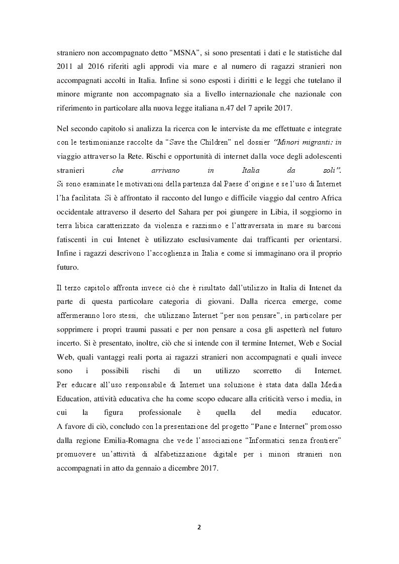 """Anteprima della tesi: In viaggio tra realtà e rete internet. Verso un'educazione responsabile dell'utilizzo di Internet ai """"minori stranieri non accompagnati"""", Pagina 3"""