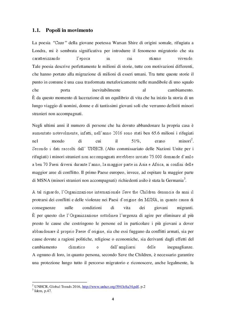 """Anteprima della tesi: In viaggio tra realtà e rete internet. Verso un'educazione responsabile dell'utilizzo di Internet ai """"minori stranieri non accompagnati"""", Pagina 5"""