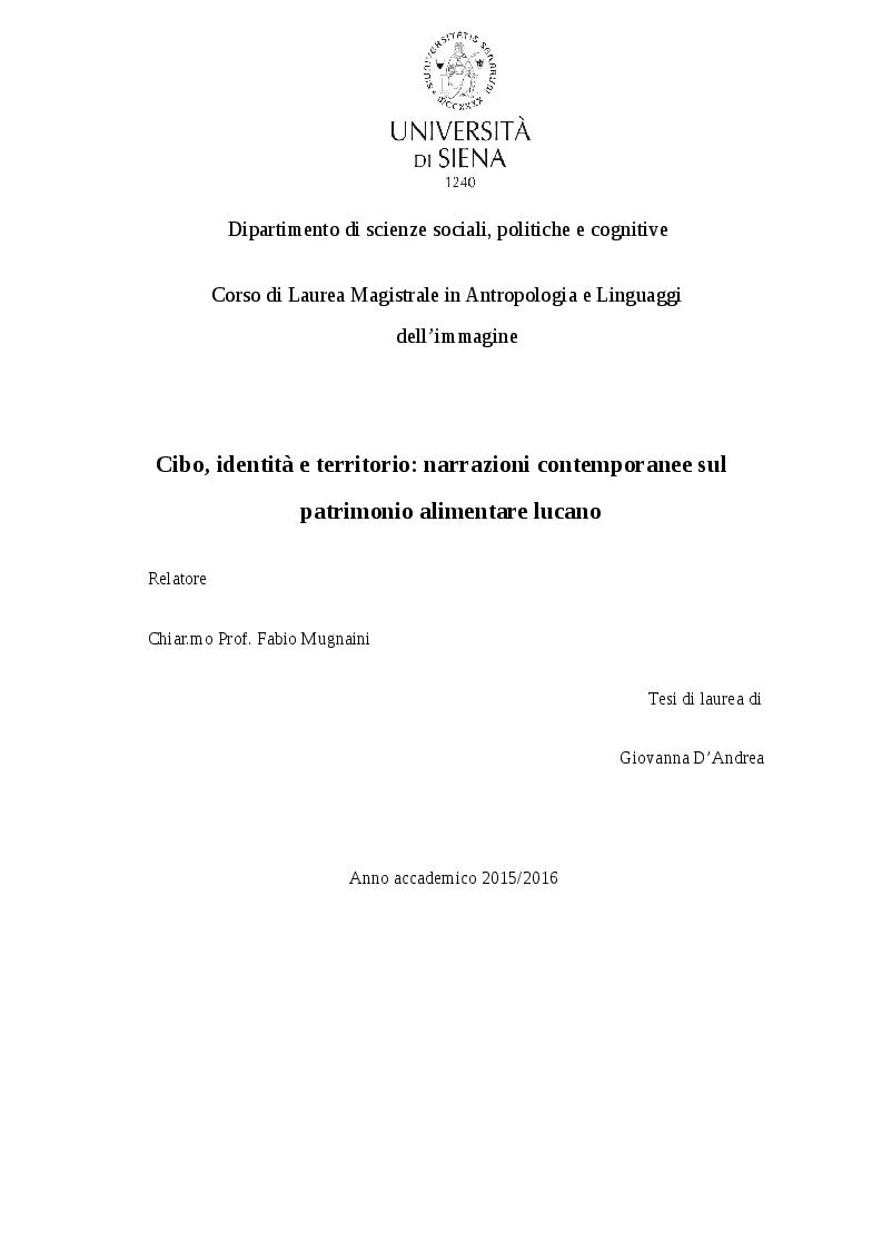 Anteprima della tesi: Cibo, identità e territorio: narrazioni contemporanee sul patrimonio alimentare lucano, Pagina 1