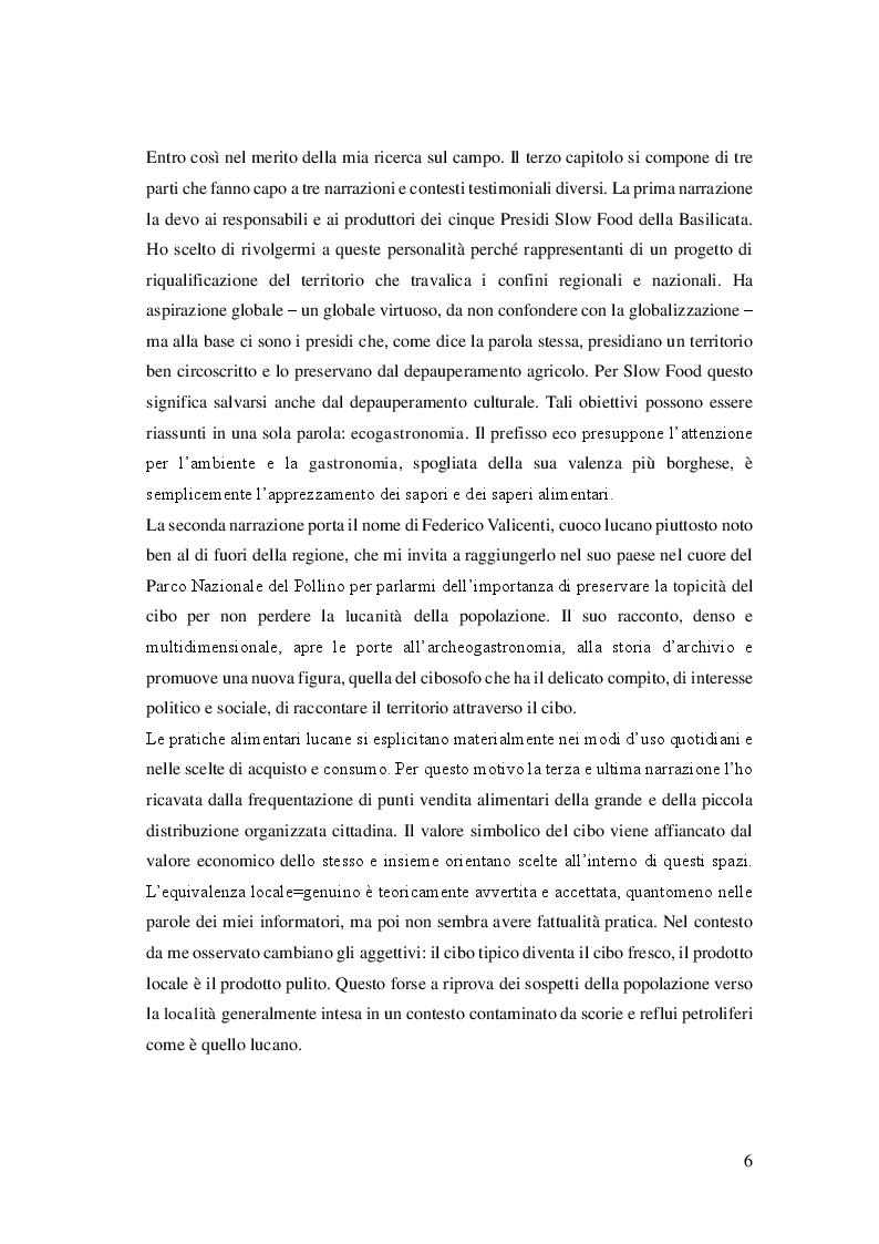 Anteprima della tesi: Cibo, identità e territorio: narrazioni contemporanee sul patrimonio alimentare lucano, Pagina 5