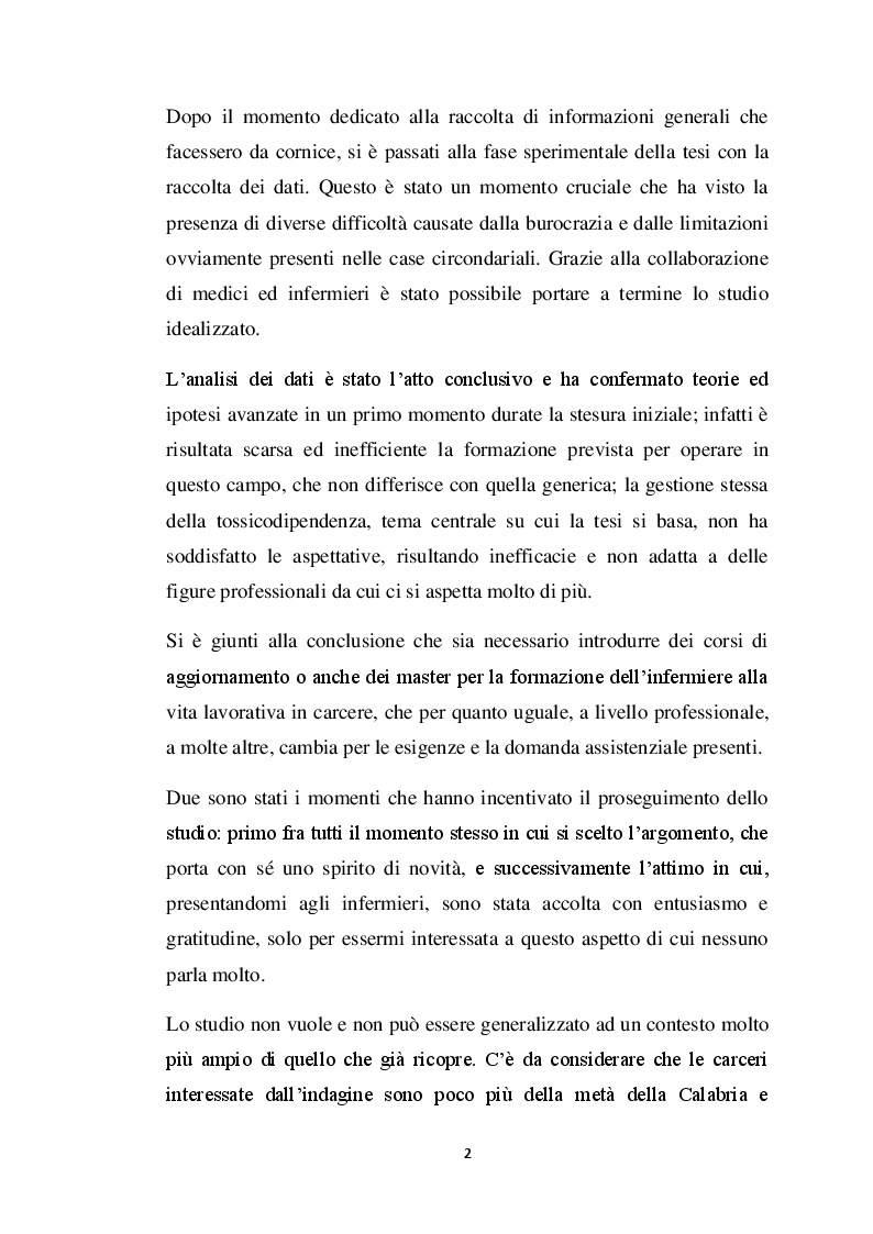 Anteprima della tesi: Uno sguardo oltre le sbarre: l'infermiere e la gestione della tossicodipendenza , Pagina 3