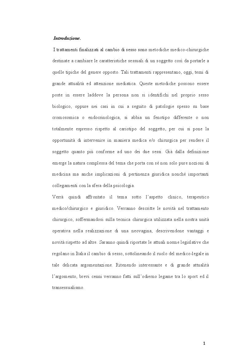 Anteprima della tesi: Cambio di sesso: aspetti clinici, chirurgici e medicolegali, Pagina 2
