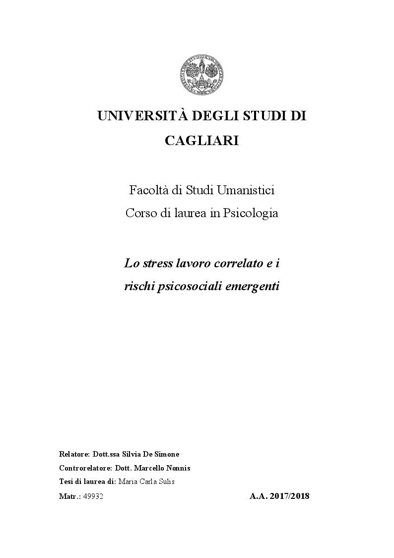 Anteprima della tesi: Lo stress lavoro correlato e rischi psicosociali emergenti, Pagina 1