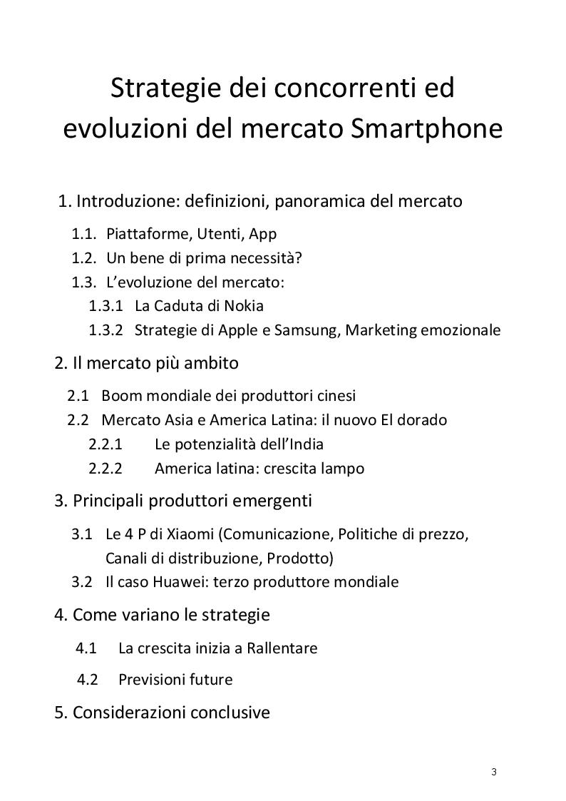 Indice della tesi: Strategie dei concorrenti ed evoluzioni del mercato Smartphone, Pagina 1