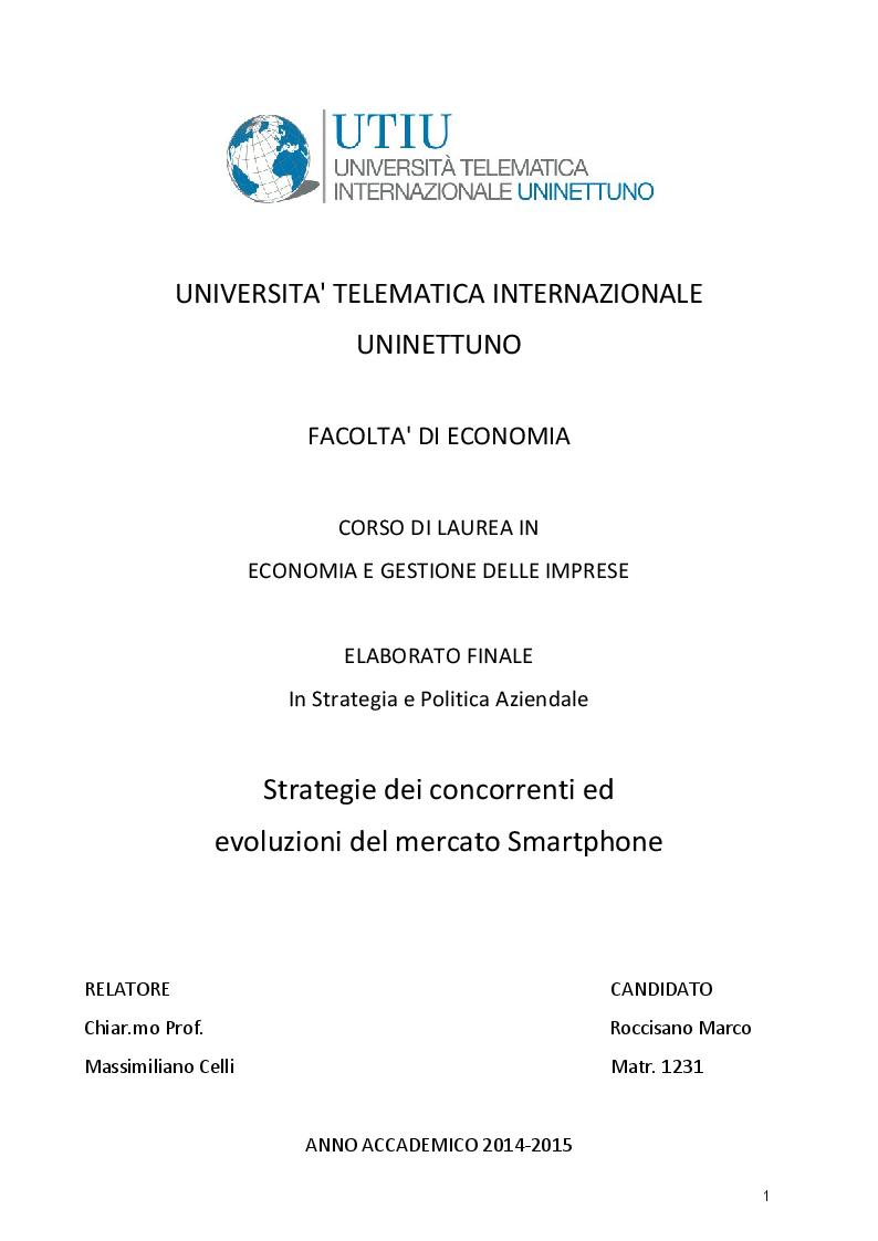 Anteprima della tesi: Strategie dei concorrenti ed evoluzioni del mercato Smartphone, Pagina 1