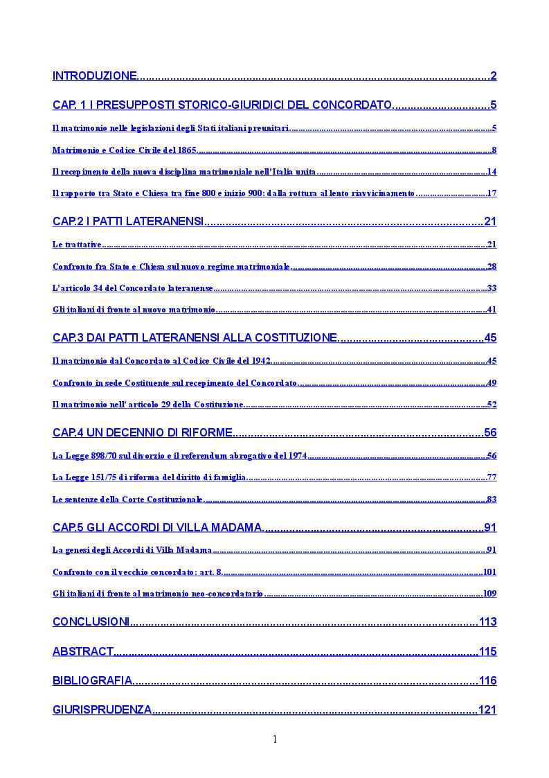 Indice della tesi: Profilo storico del matrimonio concordatario: dai Patti Lateranensi agli Accordi di Villa Madama, Pagina 1