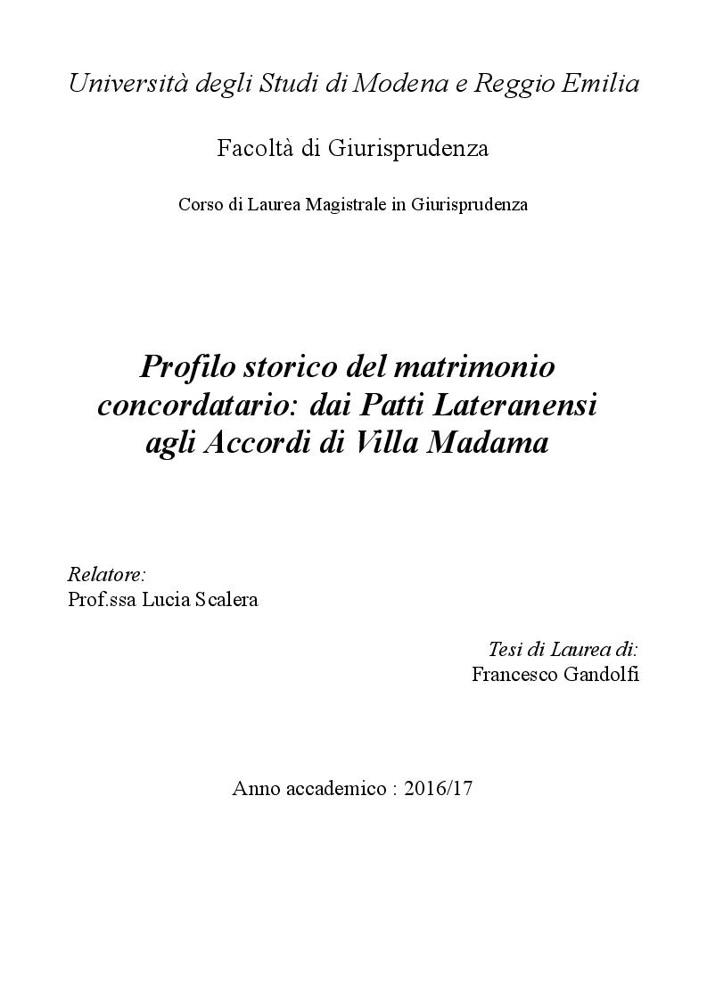 Anteprima della tesi: Profilo storico del matrimonio concordatario: dai Patti Lateranensi agli Accordi di Villa Madama, Pagina 1