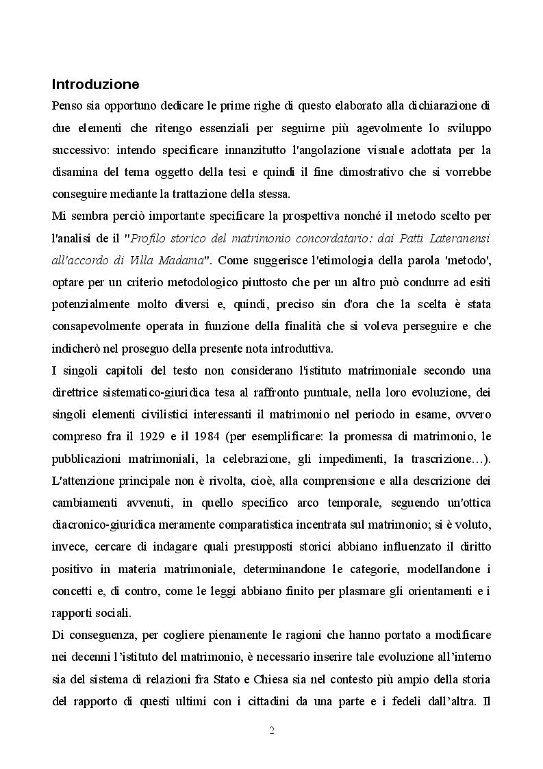 Anteprima della tesi: Profilo storico del matrimonio concordatario: dai Patti Lateranensi agli Accordi di Villa Madama, Pagina 2
