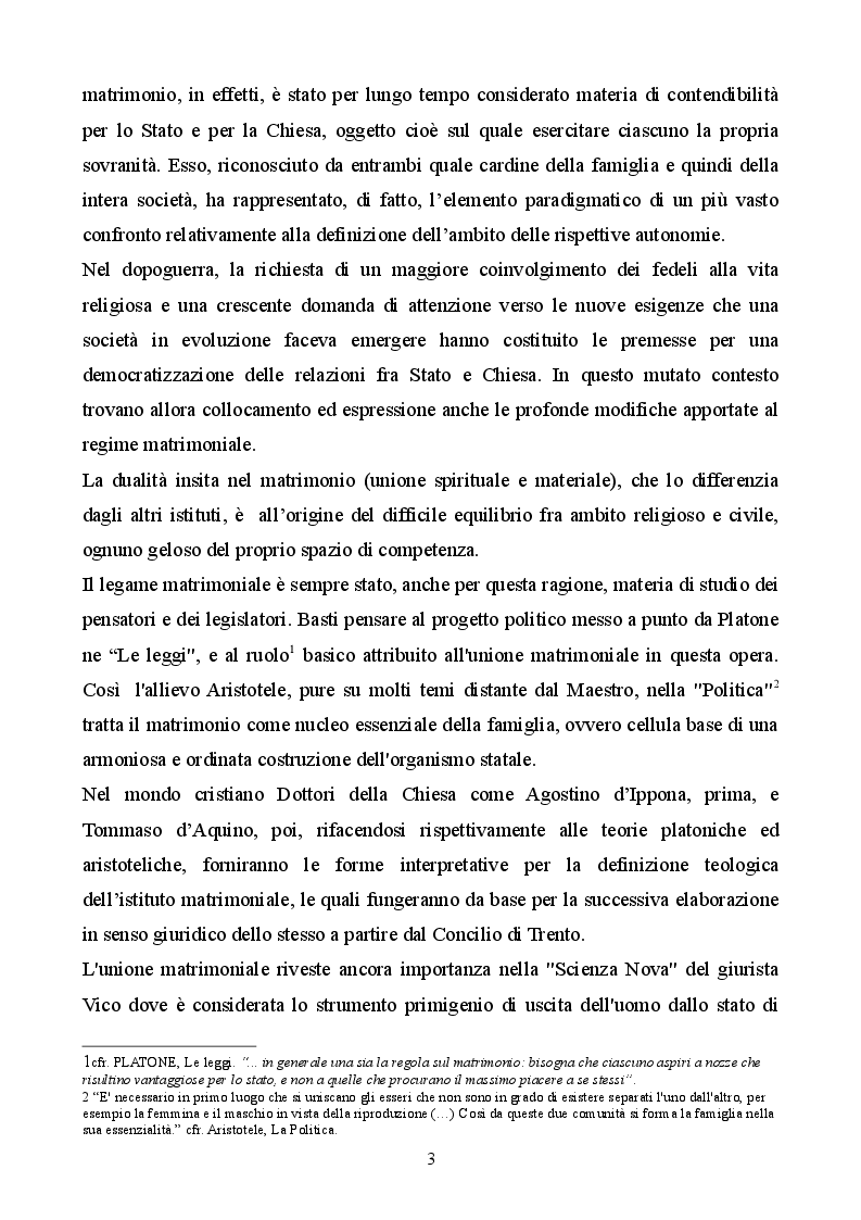 Anteprima della tesi: Profilo storico del matrimonio concordatario: dai Patti Lateranensi agli Accordi di Villa Madama, Pagina 3