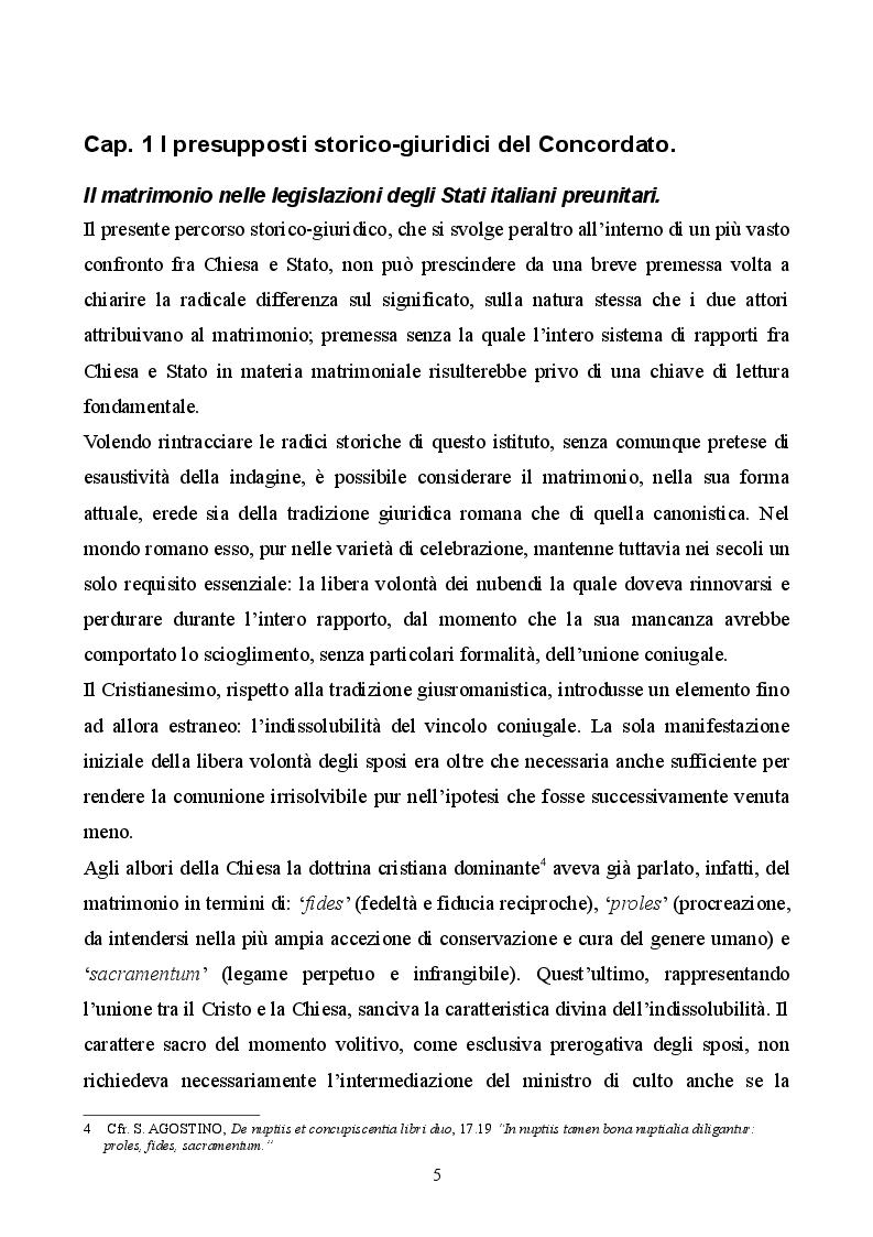 Anteprima della tesi: Profilo storico del matrimonio concordatario: dai Patti Lateranensi agli Accordi di Villa Madama, Pagina 5