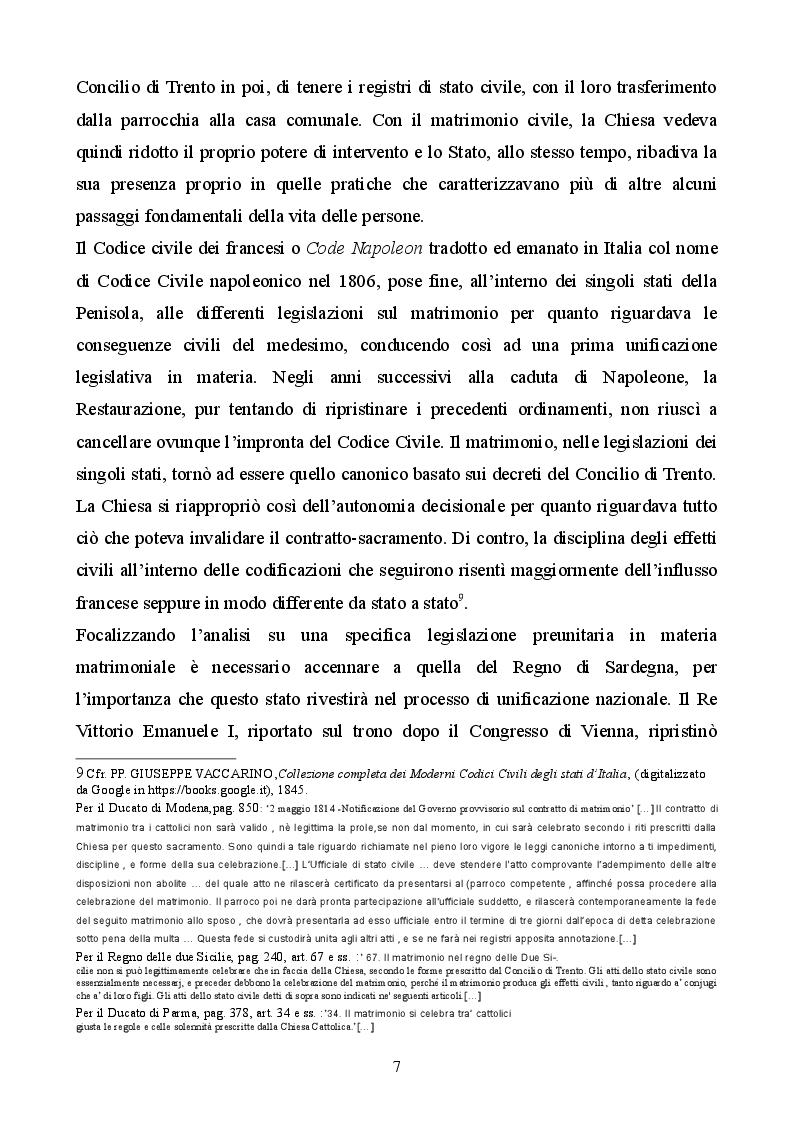 Anteprima della tesi: Profilo storico del matrimonio concordatario: dai Patti Lateranensi agli Accordi di Villa Madama, Pagina 7