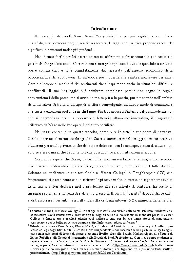 """Anteprima della tesi: """"Break Every Rule"""": Carole Maso e il suo nuovo modo di comunicare, Pagina 2"""