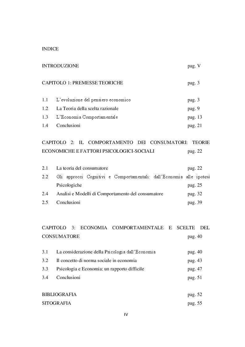 Indice della tesi: Economia, Etica e Psicologia: Comportamento Economico E Motivazionale Delle Scelte Del Consumatore, Pagina 1