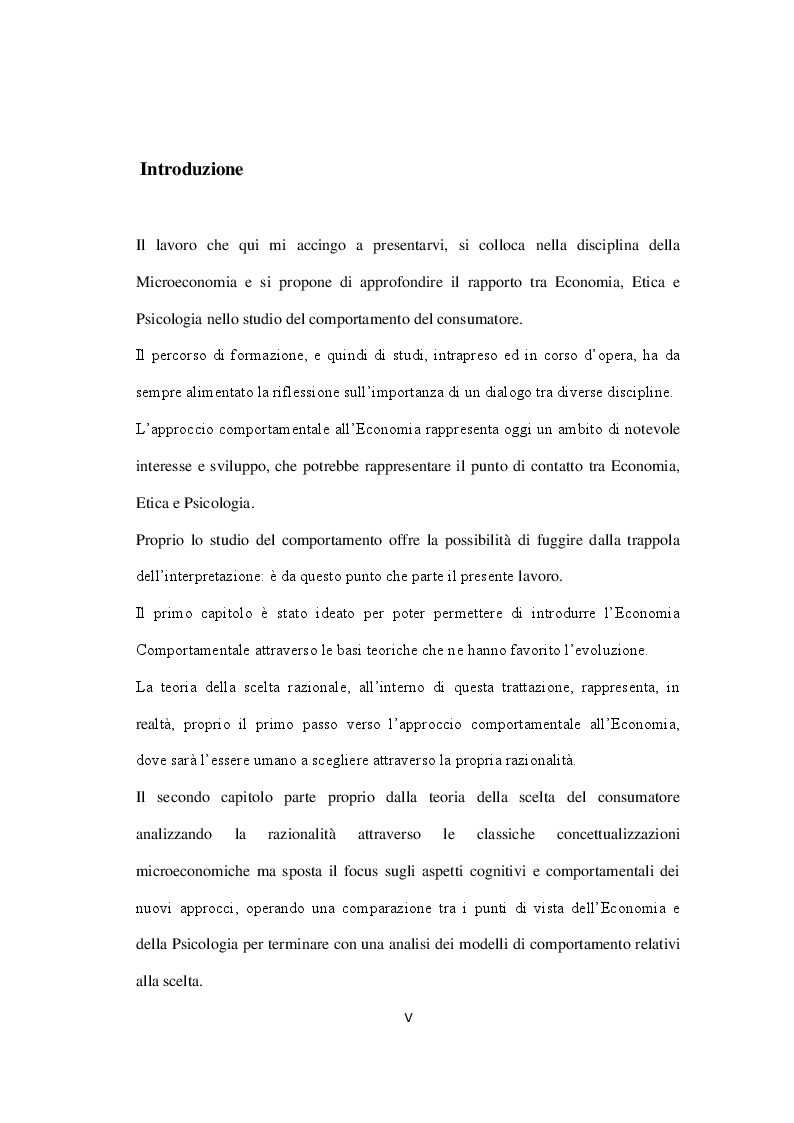 Anteprima della tesi: Economia, Etica e Psicologia: Comportamento Economico E Motivazionale Delle Scelte Del Consumatore, Pagina 2
