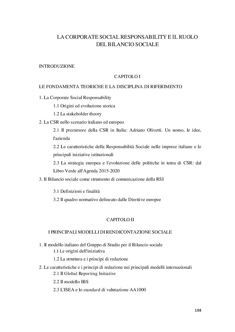 Indice della tesi: La Corporate social responsability e il ruolo del bilancio sociale, Pagina 1