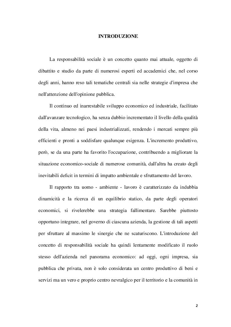 Anteprima della tesi: La Corporate social responsability e il ruolo del bilancio sociale, Pagina 2