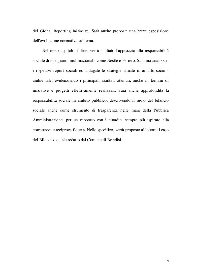 Anteprima della tesi: La Corporate social responsability e il ruolo del bilancio sociale, Pagina 4