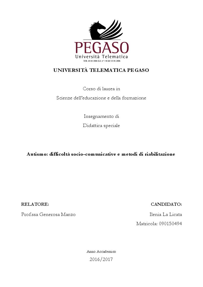 Anteprima della tesi: Autismo: difficoltà socio-comunicative e metodi di riabilitazione, Pagina 1