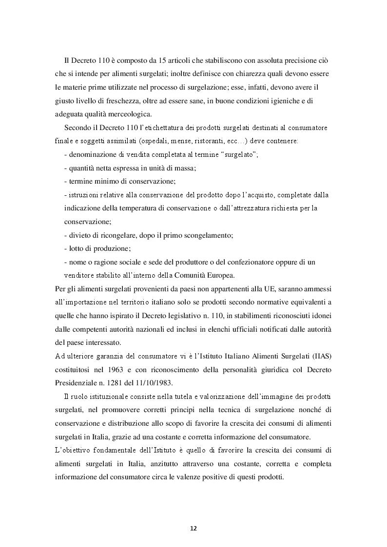 Estratto dalla tesi: Prodotti Gastronomici Surgelati