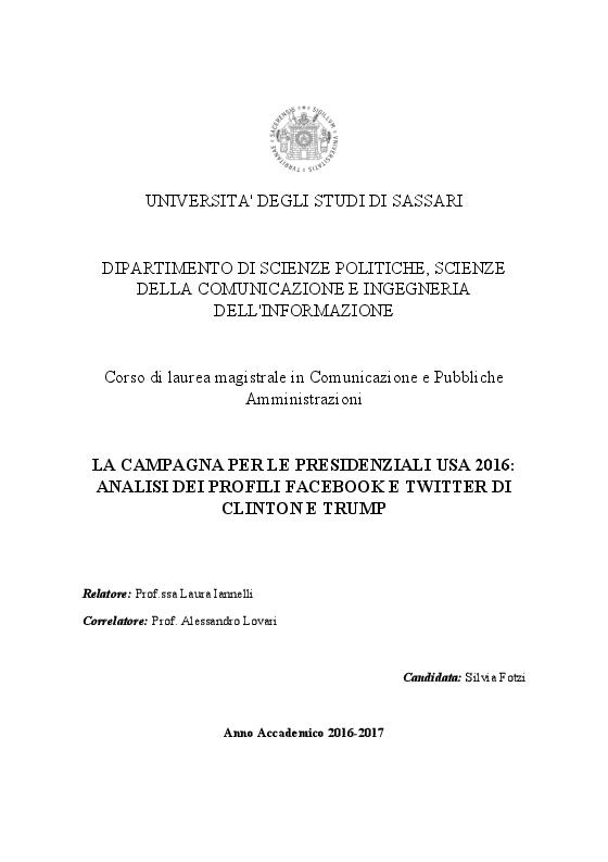Anteprima della tesi: La campagna per le Presidenziali USA 2016: analisi dei profili Facebook e Twitter di Clinton e Trump, Pagina 1