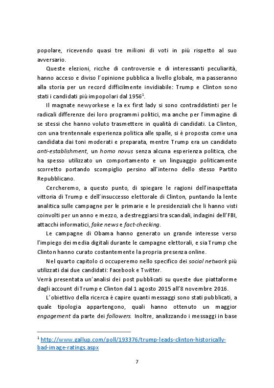Anteprima della tesi: La campagna per le Presidenziali USA 2016: analisi dei profili Facebook e Twitter di Clinton e Trump, Pagina 5