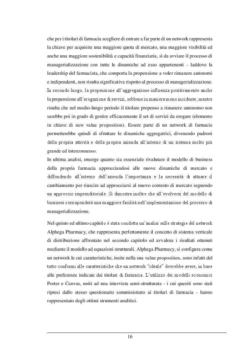 Anteprima della tesi: La Legge 124/2017: le risposte strategico organizzative dei titolari di farmacia ed il nuovo business model. Il caso Alphega Pharmacy, Pagina 6