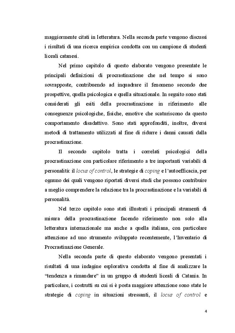 Anteprima della tesi: La procrastinazione in adolescenza: Una ricerca sul campo, Pagina 3