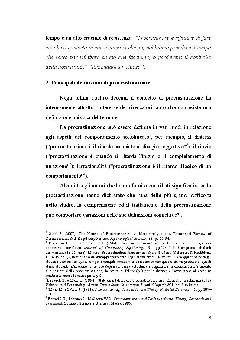 Anteprima della tesi: La procrastinazione in adolescenza: Una ricerca sul campo, Pagina 8