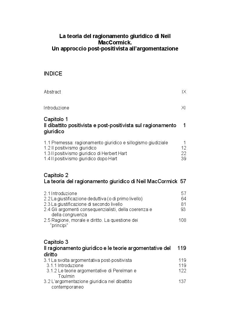 Indice della tesi: La teoria del ragionamento giuridico di Neil MacCormick, un approccio post-positivista all'argomentazione, Pagina 1
