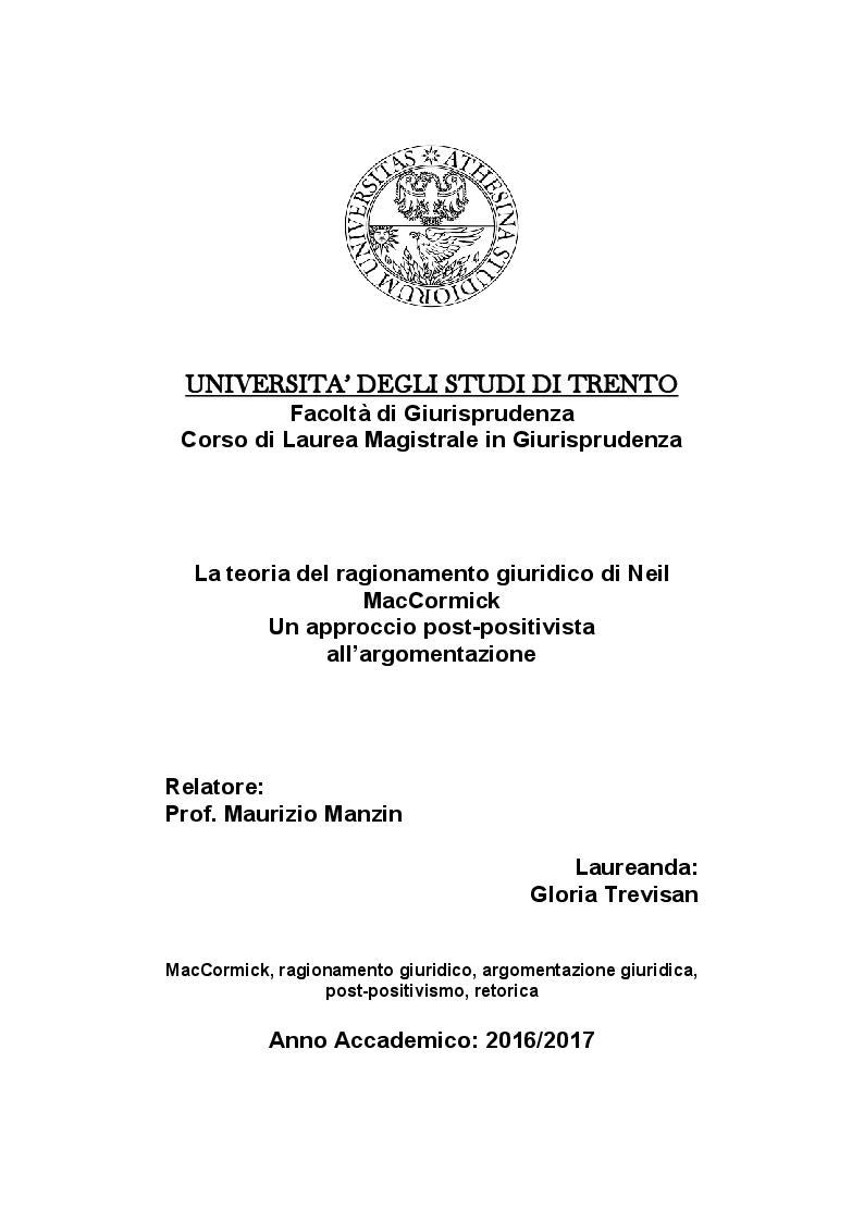 Anteprima della tesi: La teoria del ragionamento giuridico di Neil MacCormick, un approccio post-positivista all'argomentazione, Pagina 1