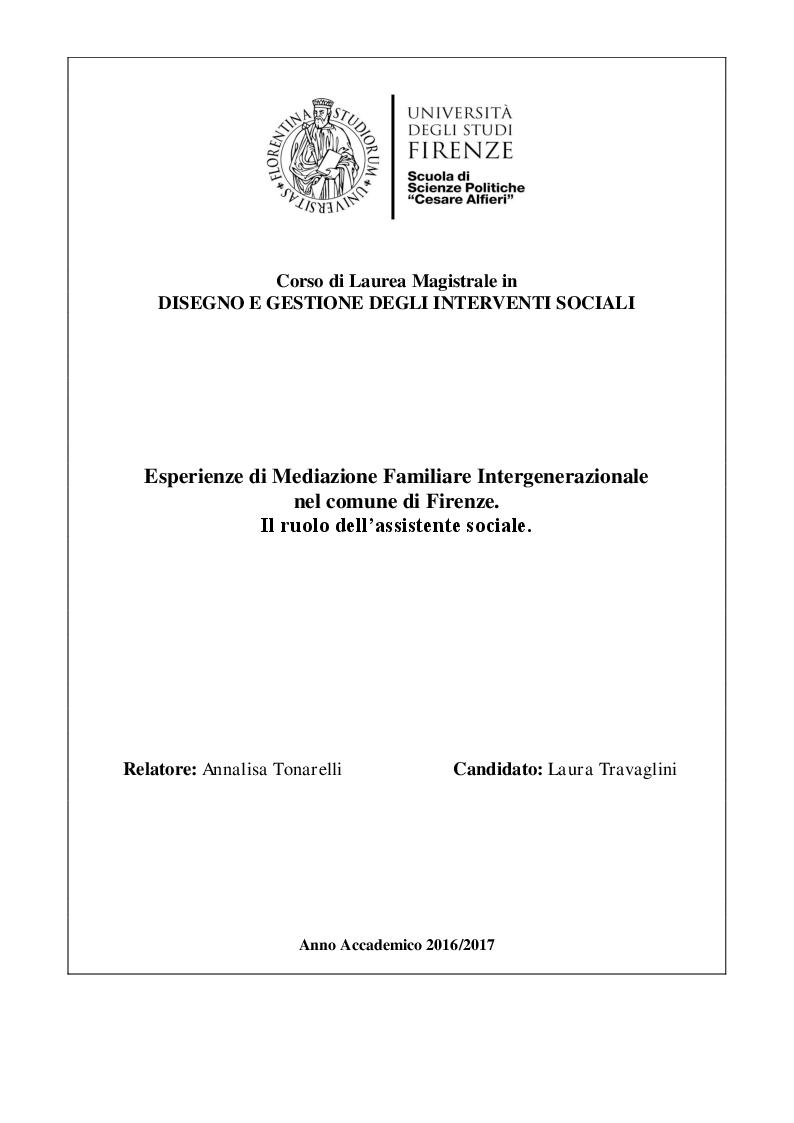 Anteprima della tesi: Esperienze di Mediazione Familiare Intergenerazionale nel comune di Firenze. Il ruolo dell'assistente sociale., Pagina 1