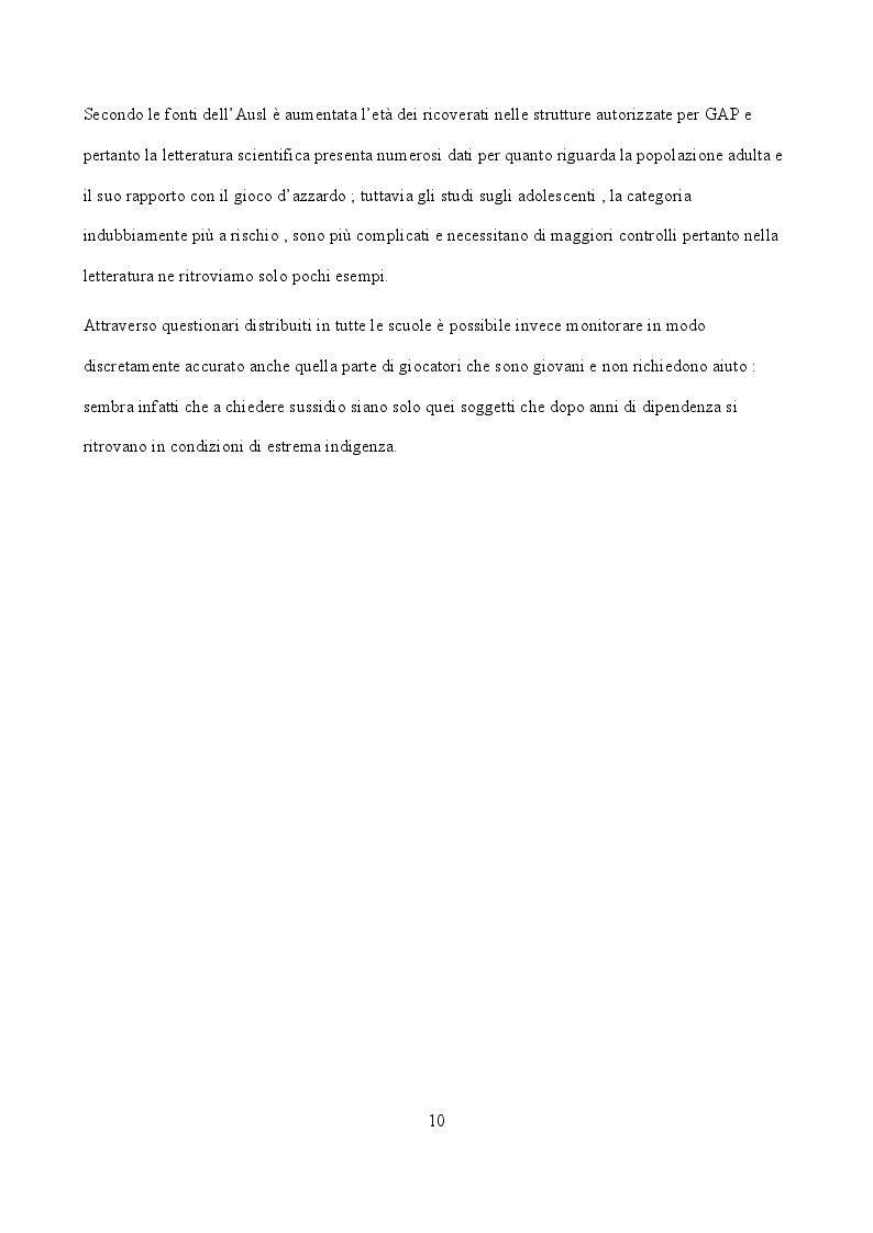 Anteprima della tesi: Indicatori sociali e sanitari implicati nello sviluppo di ludopatia negli adolescenti, Pagina 3