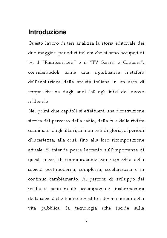 Anteprima della tesi: I giornali della TV. Dal Radiocorriere a Tv Sorrisi e Canzoni, Pagina 2