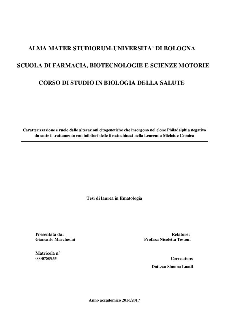 Anteprima della tesi: Caratterizzazione e ruolo delle alterazioni citogenetiche che insorgono nel clone Philadelphia negativo durante il trattamento con inibitori delle tirosinchinasi nella Leucemia Mieloide Cronica, Pagina 1
