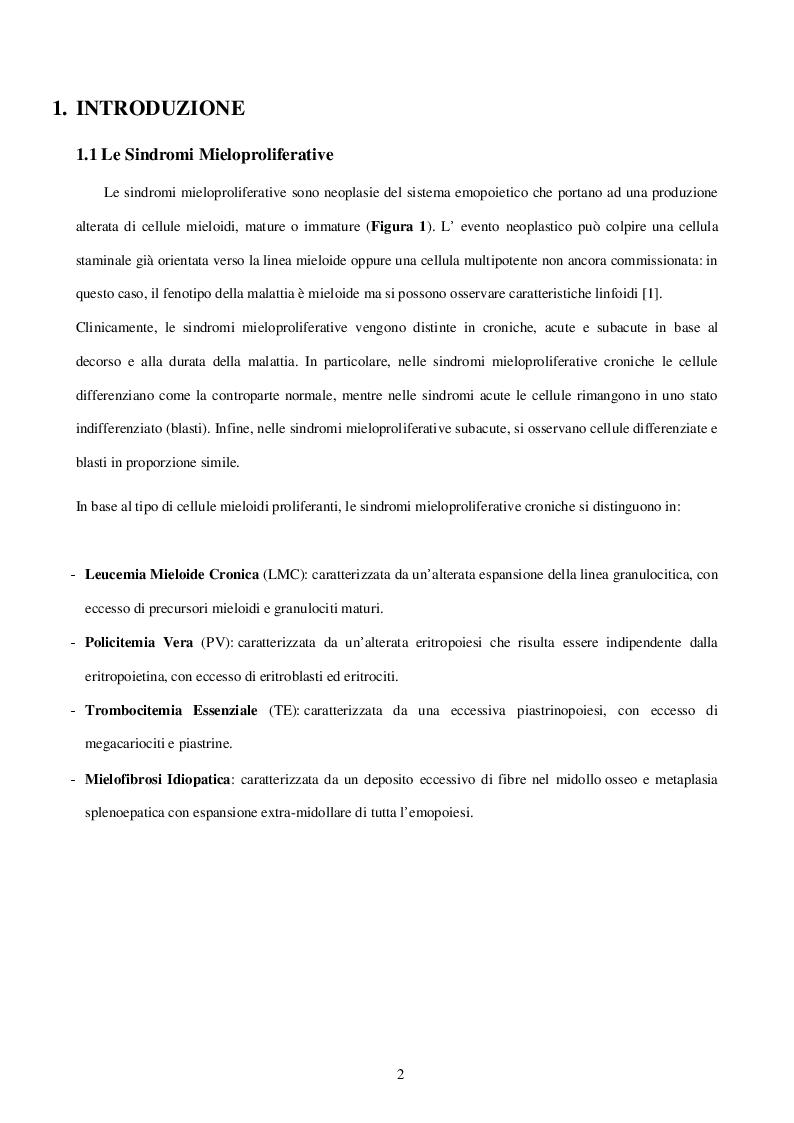 Anteprima della tesi: Caratterizzazione e ruolo delle alterazioni citogenetiche che insorgono nel clone Philadelphia negativo durante il trattamento con inibitori delle tirosinchinasi nella Leucemia Mieloide Cronica, Pagina 2