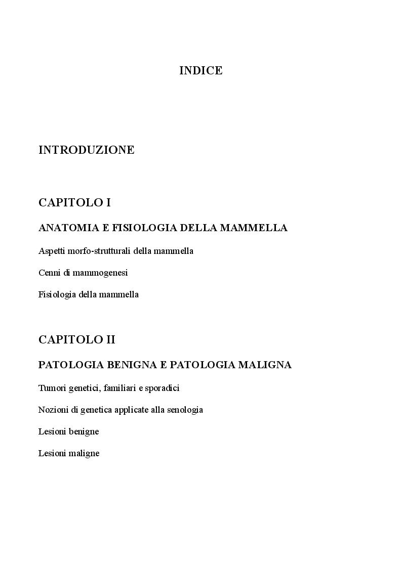 Indice della tesi: Management infermieristico nella donna con ricostruzione mammaria: dalla diagnosi  alla riabilitazione, Pagina 1