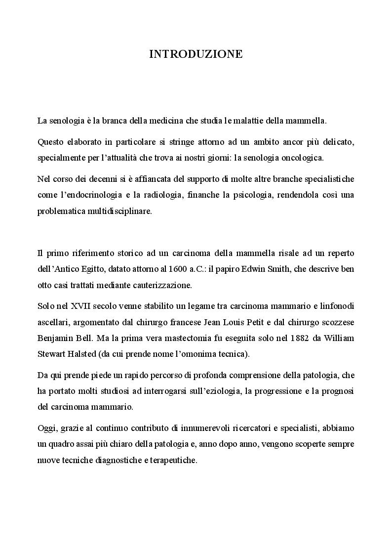 Anteprima della tesi: Management infermieristico nella donna con ricostruzione mammaria: dalla diagnosi  alla riabilitazione, Pagina 2