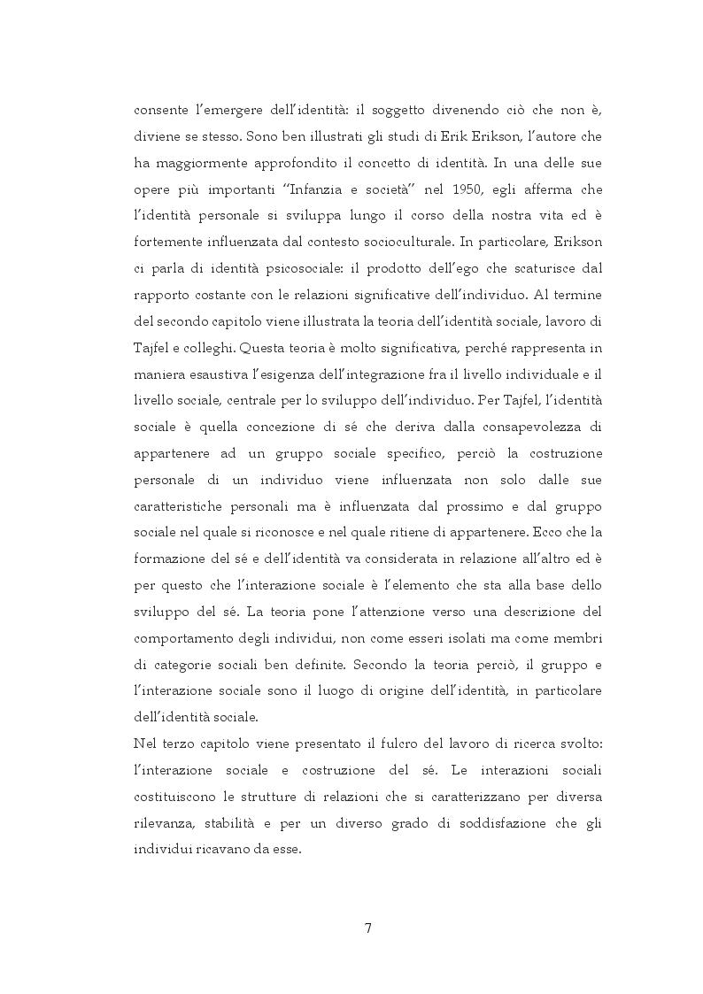 Anteprima della tesi: Interazione sociale e costruzione del sé, Pagina 5